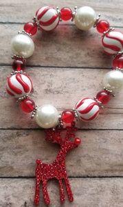 Red Nose Reindeer Glass Bead Stretch Bracelet
